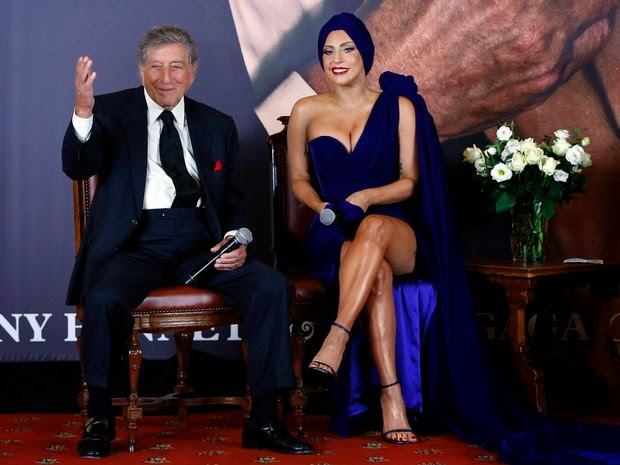 Lady Gaga and Tony Bennett at a news conference in Brussels