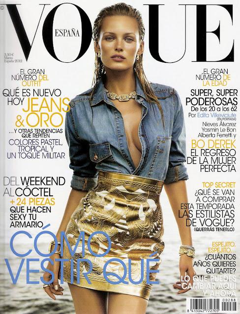 vogue, portada, marzo, 2012, dorado, vaquero, efecto mojado