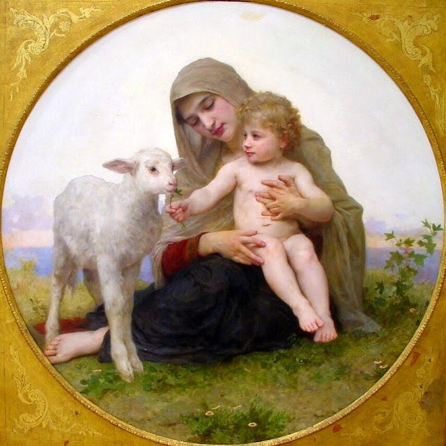 Virgin Mary,lamb of god, Bouguereau