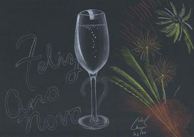 Carlos Chagas - Ano novo - 2013 - Canson e lápis aquarelável Koh I Noor