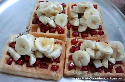 Waffle topped with Pomegranate and banana