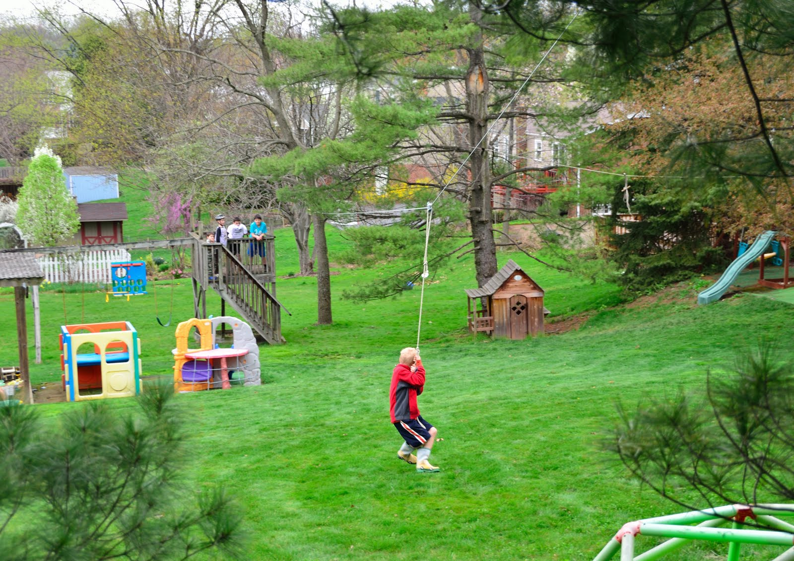 the backyard flying fox zip line outdoor play pinterest