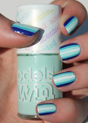 Blue ombre stripes nail art with Models Own Apple Pie