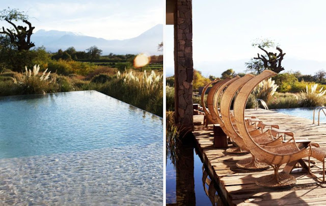 On the left: infinity pool overlooking nature. On the right: Wicker chairs by infinity pool