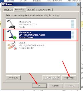Sorot Microphone yang Terhubung, Klik Properties