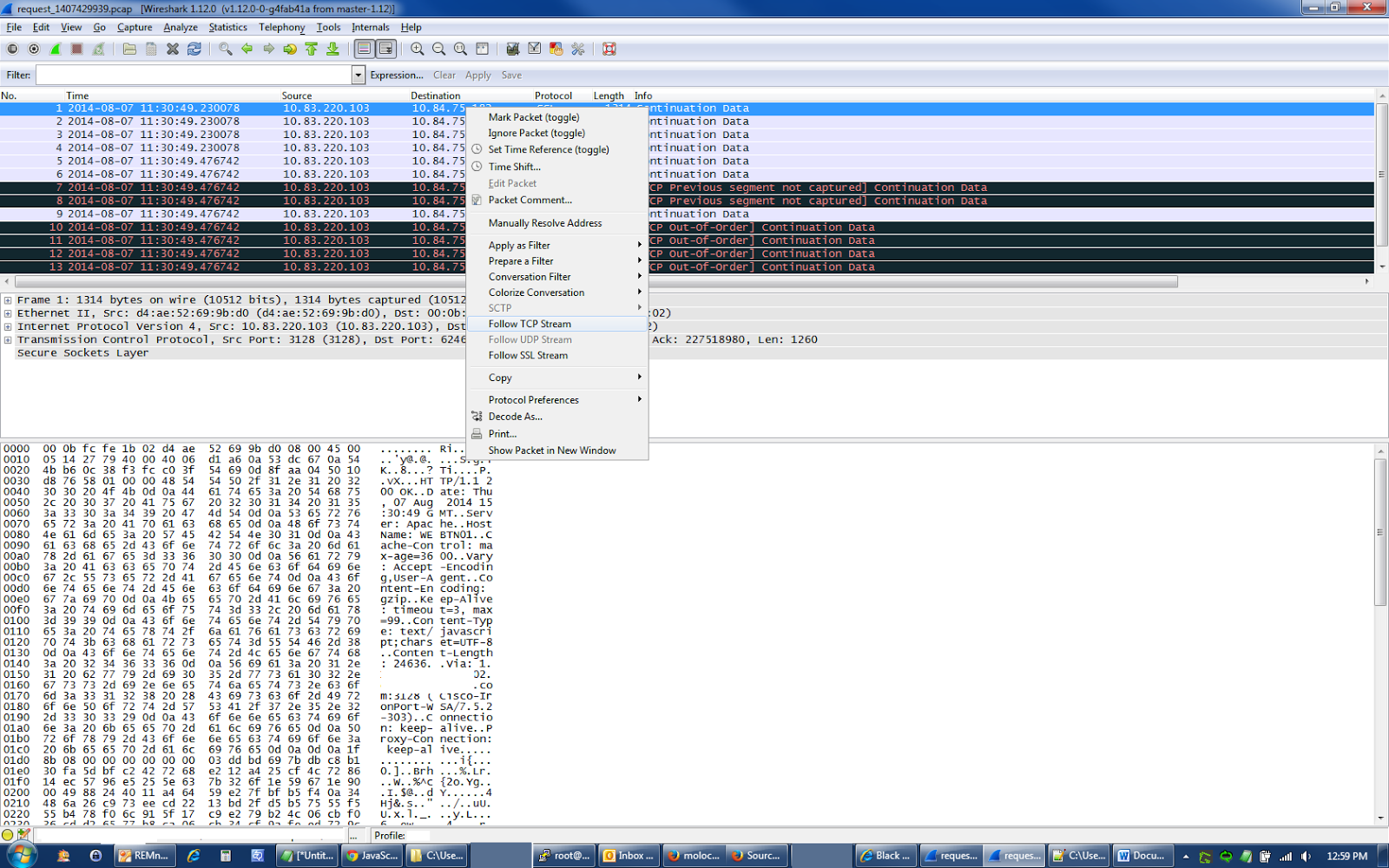 how to read packet data in wireshark