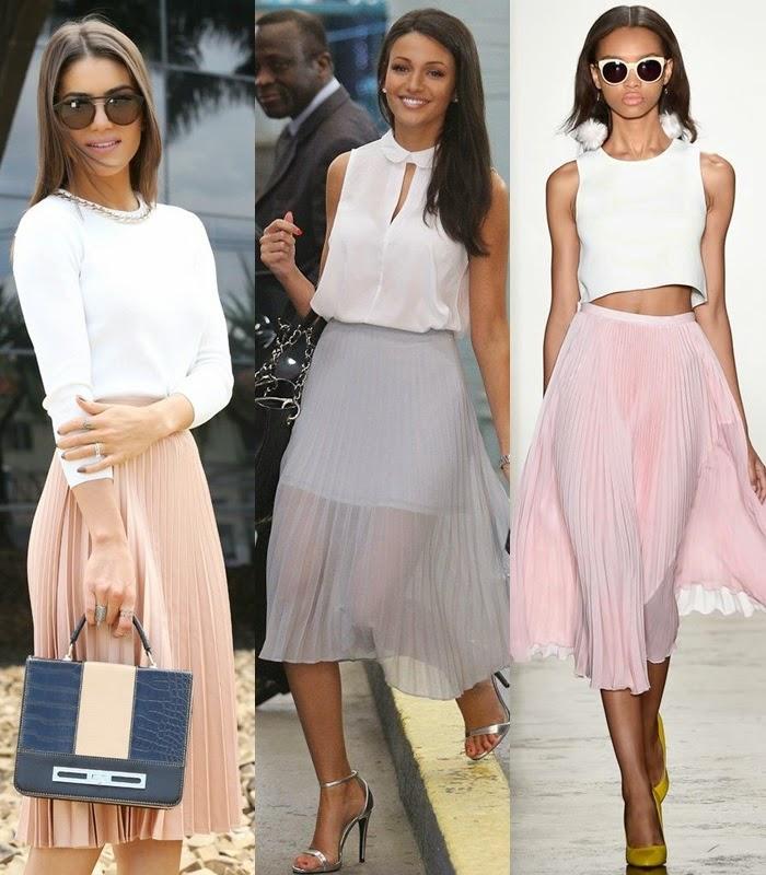 Moda - Saia pelo joelho plissada tendência primavera-verão 2015