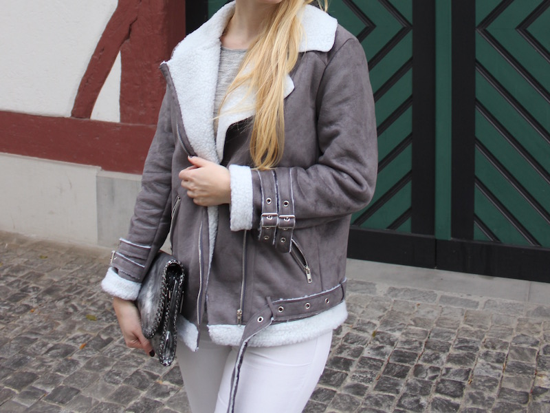 Outfit gefütterte graue Winterlederjacke - Acne Lookalike Fashion Leather jacket Moto