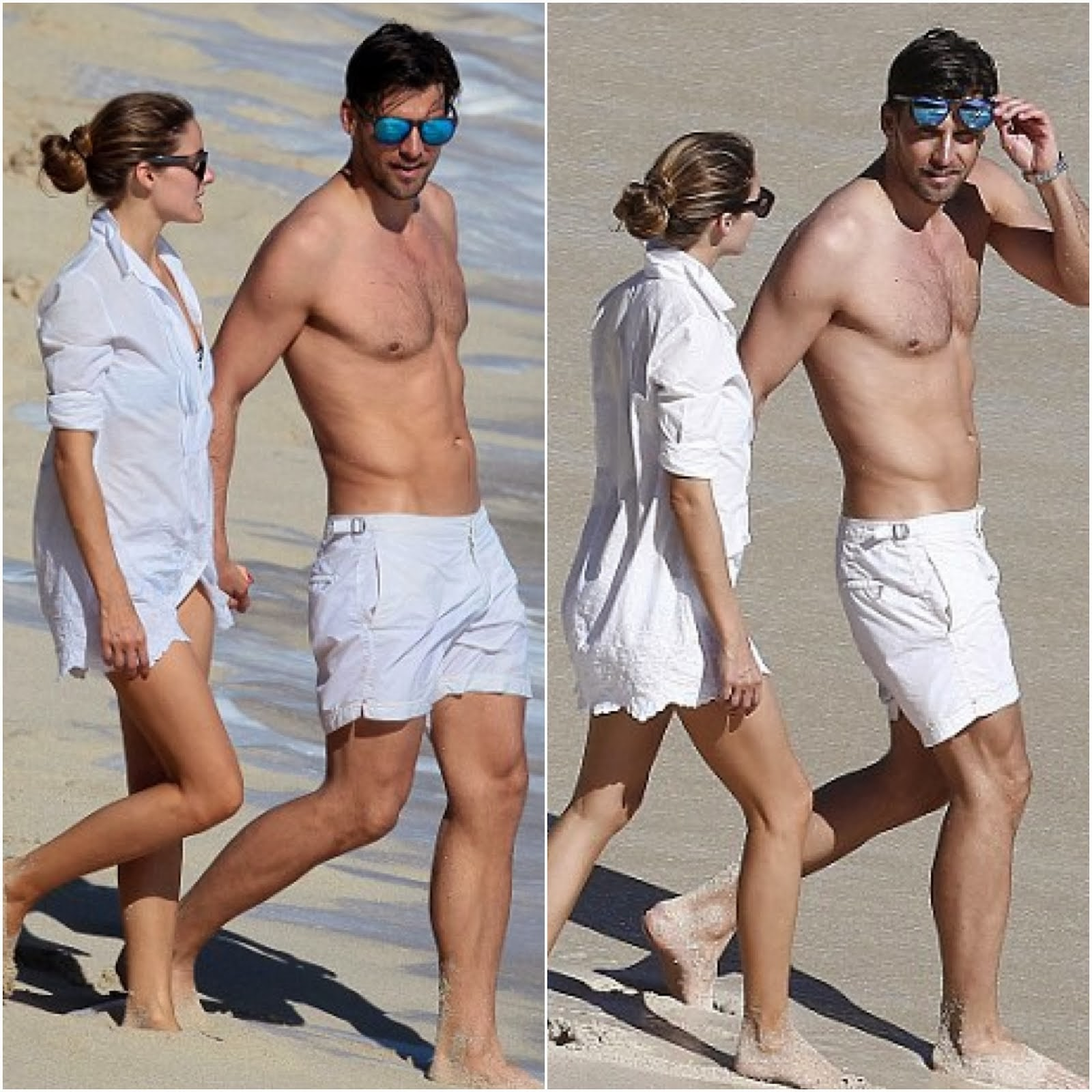 Olivia Palermo and Johannes Huebl in Orlebar Brown white shorts - St Bart's Beach Style 2014