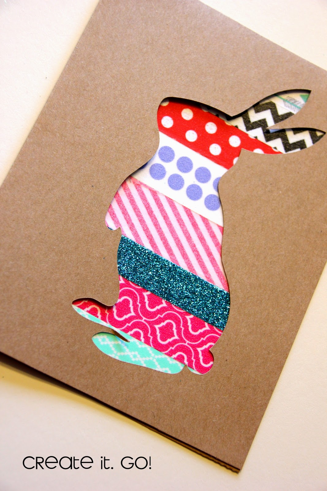Papercrafting cards with washi tape easter bunny - Washi tape ideen ...