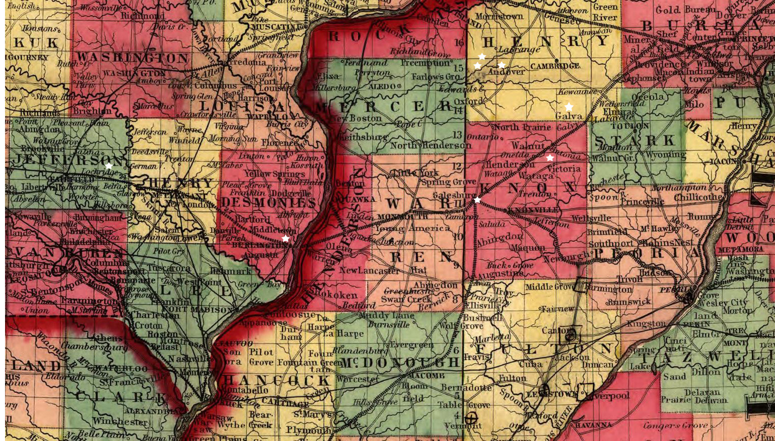 Illinois henry county andover - Johnson S New Railroad And Township Copper Plate Map Of Illinois Iowa Missouri From The Latest And Best Authorities New York 1859 C1857