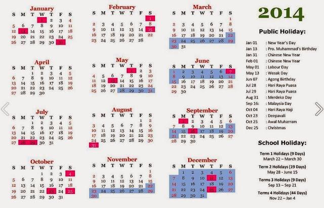 2014年日历下载 马来西亚公共假期和学校假期表