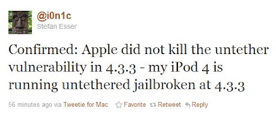 untethered Jailbreak iOS 4.3.3 funktioniert auf iPod Touch 4G