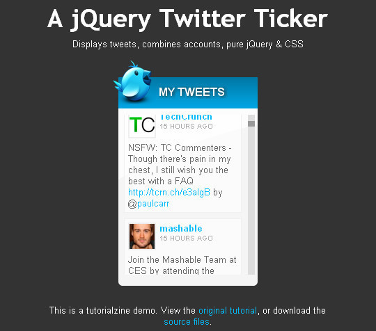 jquery twitter ticker