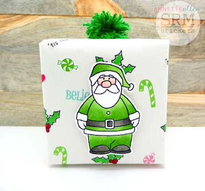 SRM Stickers Blog - SRM Stickers Christmas Wrapping by Annette - #christmas #giftwrap #stickers #kraftbox #clearstamps #janesdoodles #tistheseason #twine #solidtwine