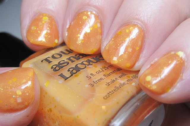 Literary Lacquers More Like Fire Than Light with Tough As Nails Lacquer Orange Whip over it