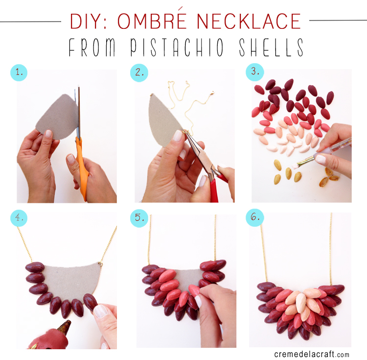 Diy ombr necklace from pistachio shells for Diy craft projects easy