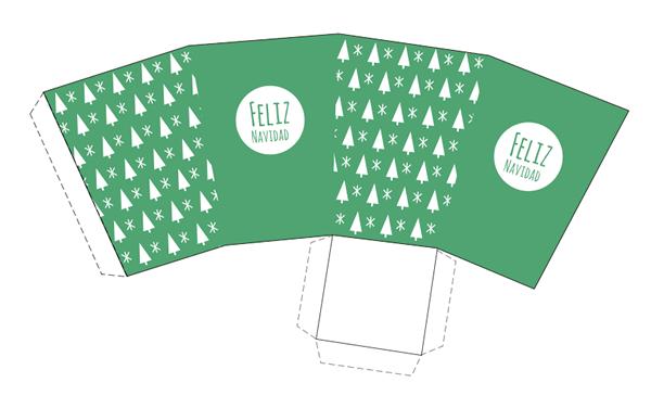 caja imprimible de feliz navidad verde