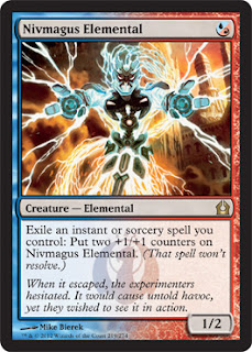 Magic the Gathering Nivmagus Elemental creature card nerdy, weird strange ugly electricity