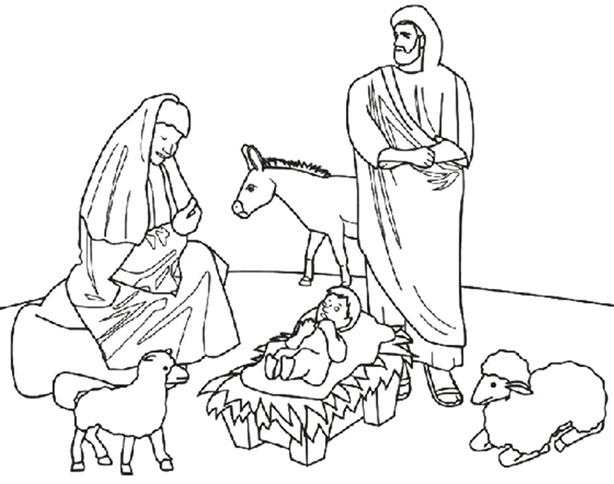 Nacimiento de jesus en el establo para colorear dibujos de - Laminas de navidad para colorear ...