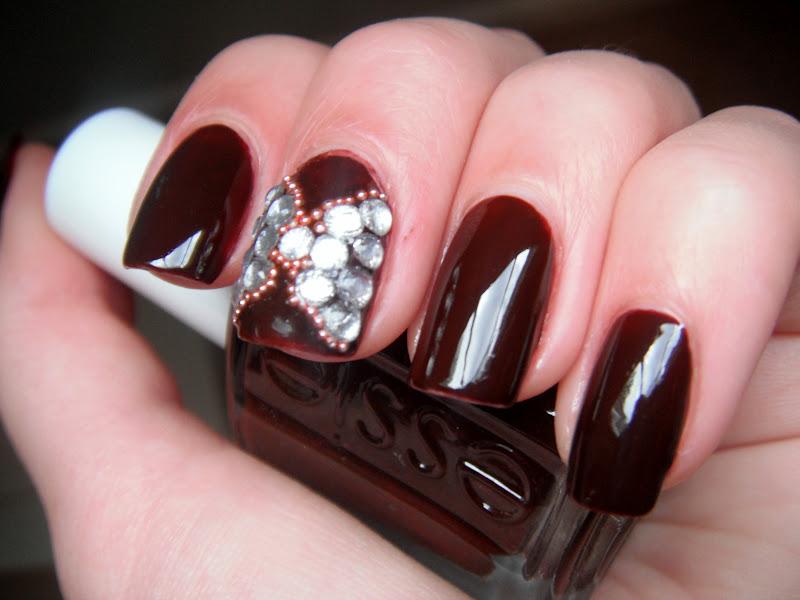 Blattitude Nails: Rhinestone Bows Nail Art with Essie Lady Godiva