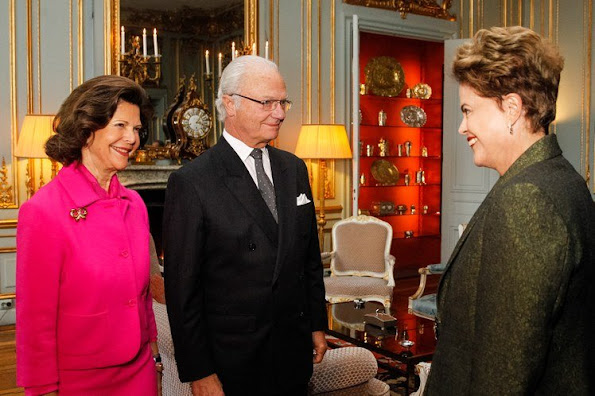 King Carl Gustaf of Sweden and Queen Silvia of Sweden met with President Dilma Rousseff of Brazil