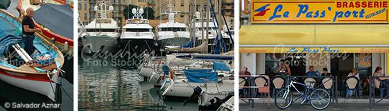 Barca de pesca, yates de lujo y cafeterías en el puerto de Niza