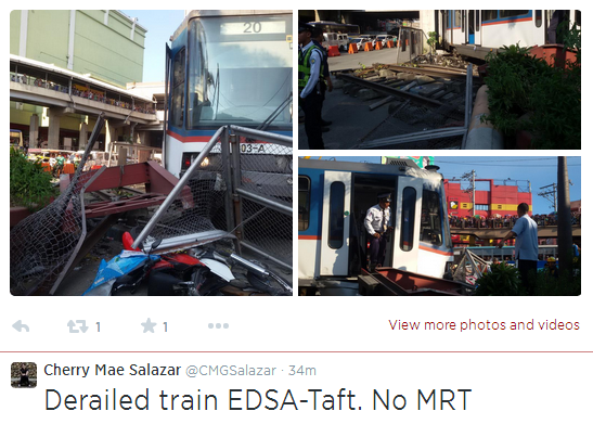MRT Train Derailed on EDSA-Taft with atleast 10 Passengers Injured