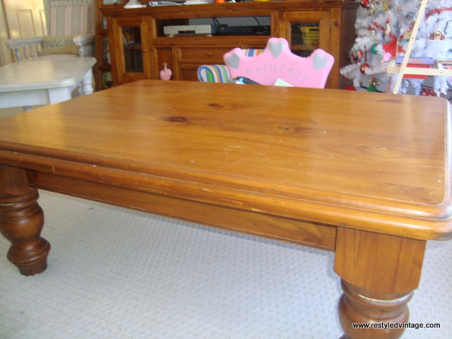 Wonderful First Up, A Huge, Chunky Honey Coloured Pine Coffee Table That We Bought To  Keep. You Might Notice A Peep Of Another Table I Have Already Finished.