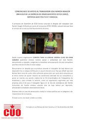Comunicado de apoyo al trabajador José Ramón Aragón Orihuela de la empresa de aparcamientos SETEX