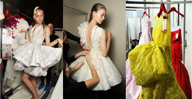 fashion, beauty, couture, haute couture, models, giambattista valli , ondria hardin, yellow, red, white, gown, fashion week, eyes, eyeliner,pfw, paris fashion week, paris, luxury, makeup cosmetics, backstage, style, style.com, collage, fashion collage
