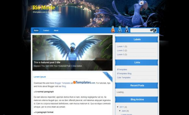 Free Anime Movies Blue Black Blogger Template