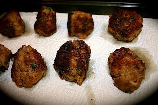 meatballs draining