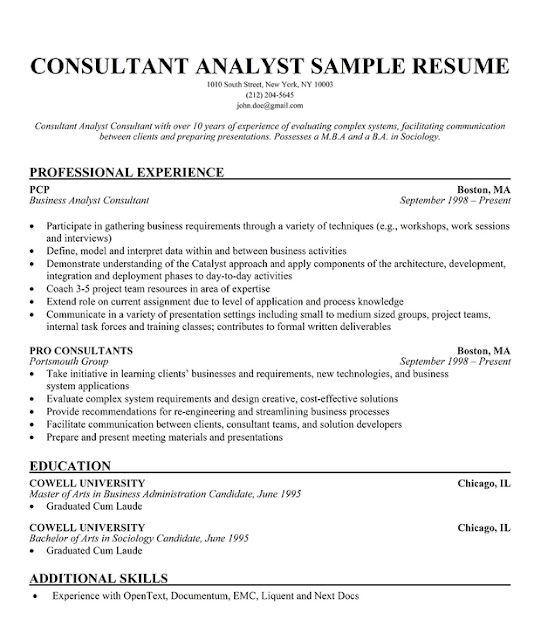 Objective of a consultant in resume