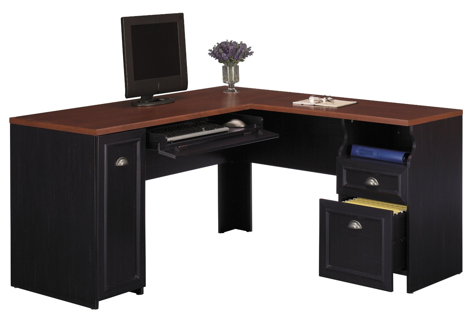 Black desk black corner desk - Corner office desk ...