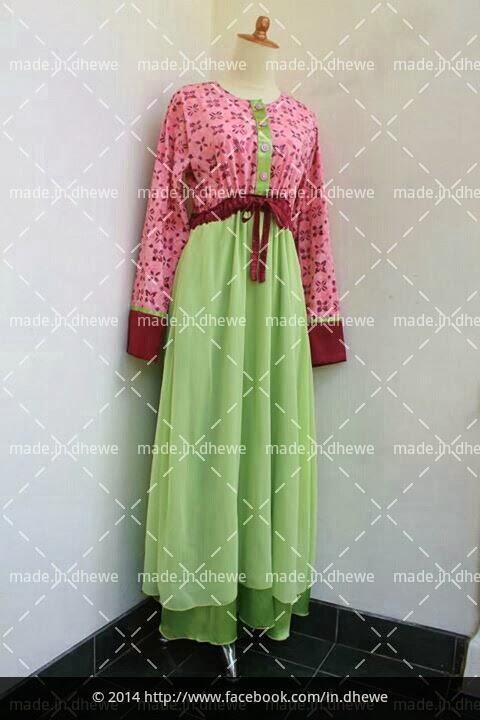 gamis batik cap merah muda kombinasi sifon hijau muda dan satin merah maroon