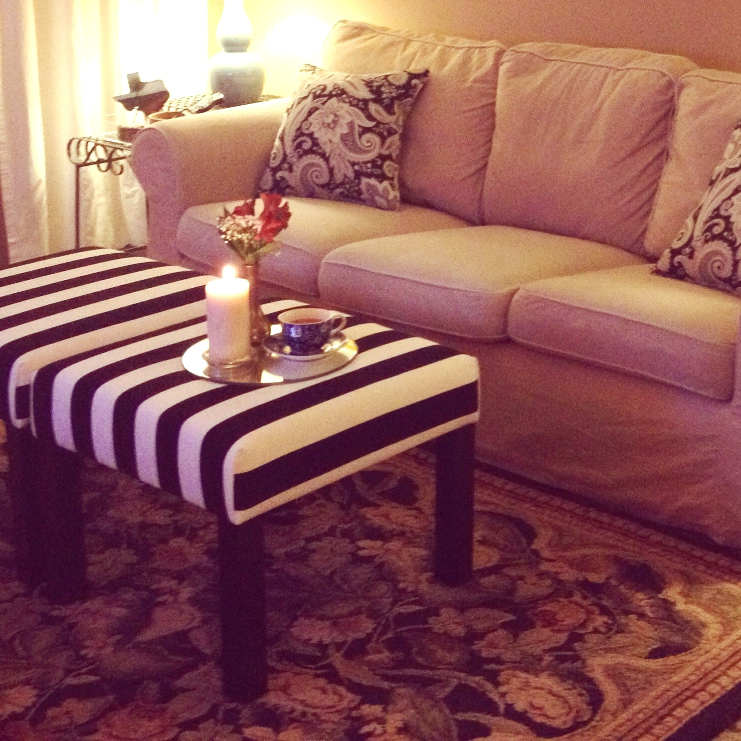 Turned to design ikea lack side tables turned ottomans - Transformar muebles ikea ...