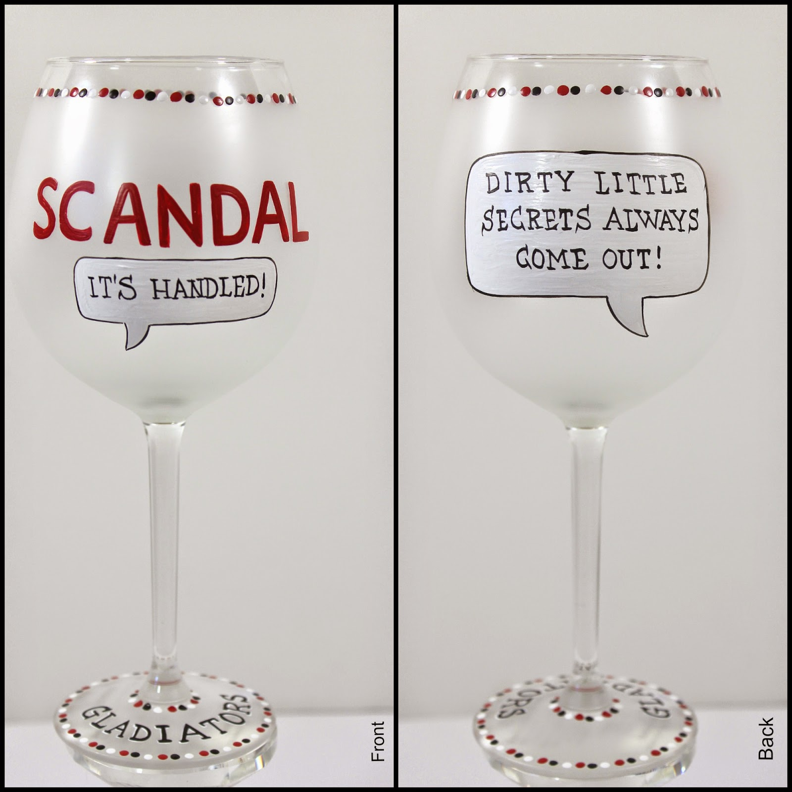 Olivia Pope and scandal hand painted wine glass / www.kudoskitchenbyrenee.wazala.com