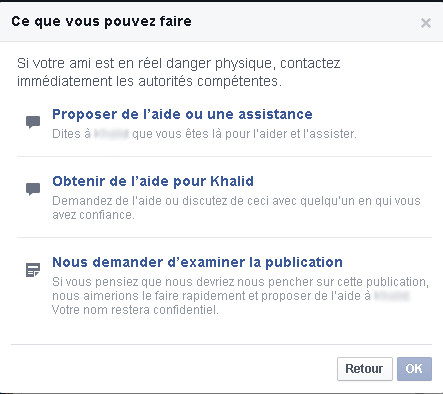 الإبلاغ عن الإنتحار على الفيسبوك