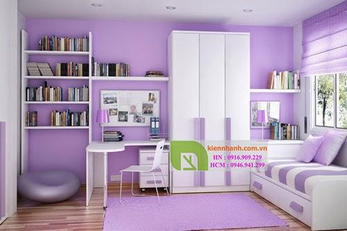 giường có ngăn kéo trong thiết kế phòng ngủ cho bé gái