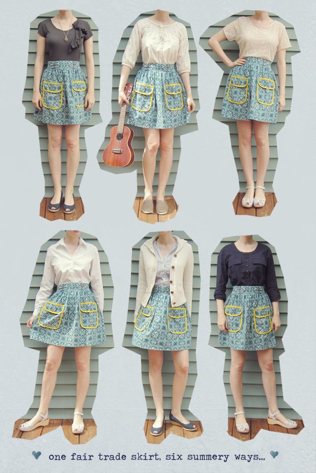 One fair trade print skirt, six ways.