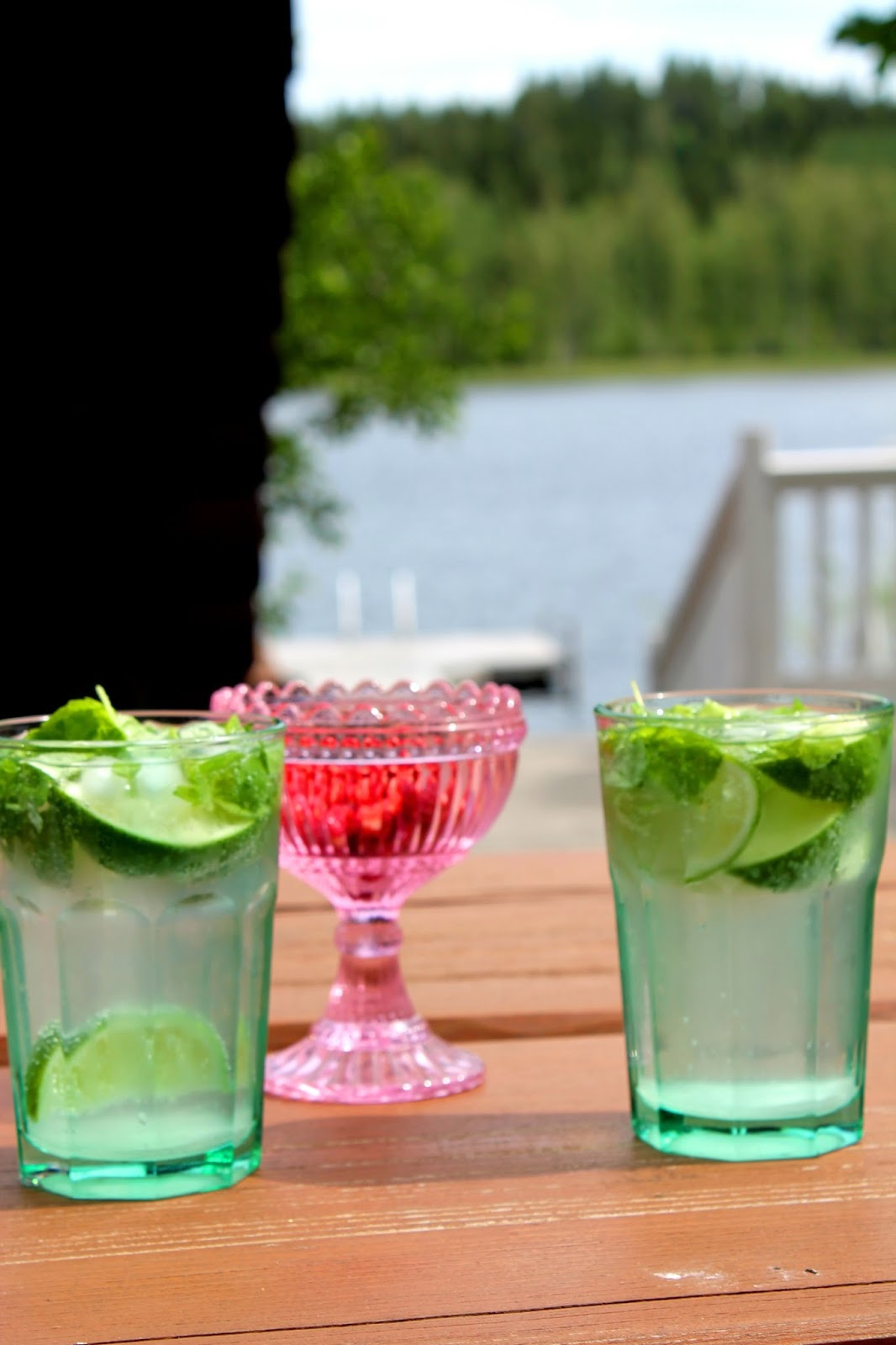Summer in Finland: Lake Saimaa, drinking cooled drinks at terrace and forrest strawberries in Mariskooli