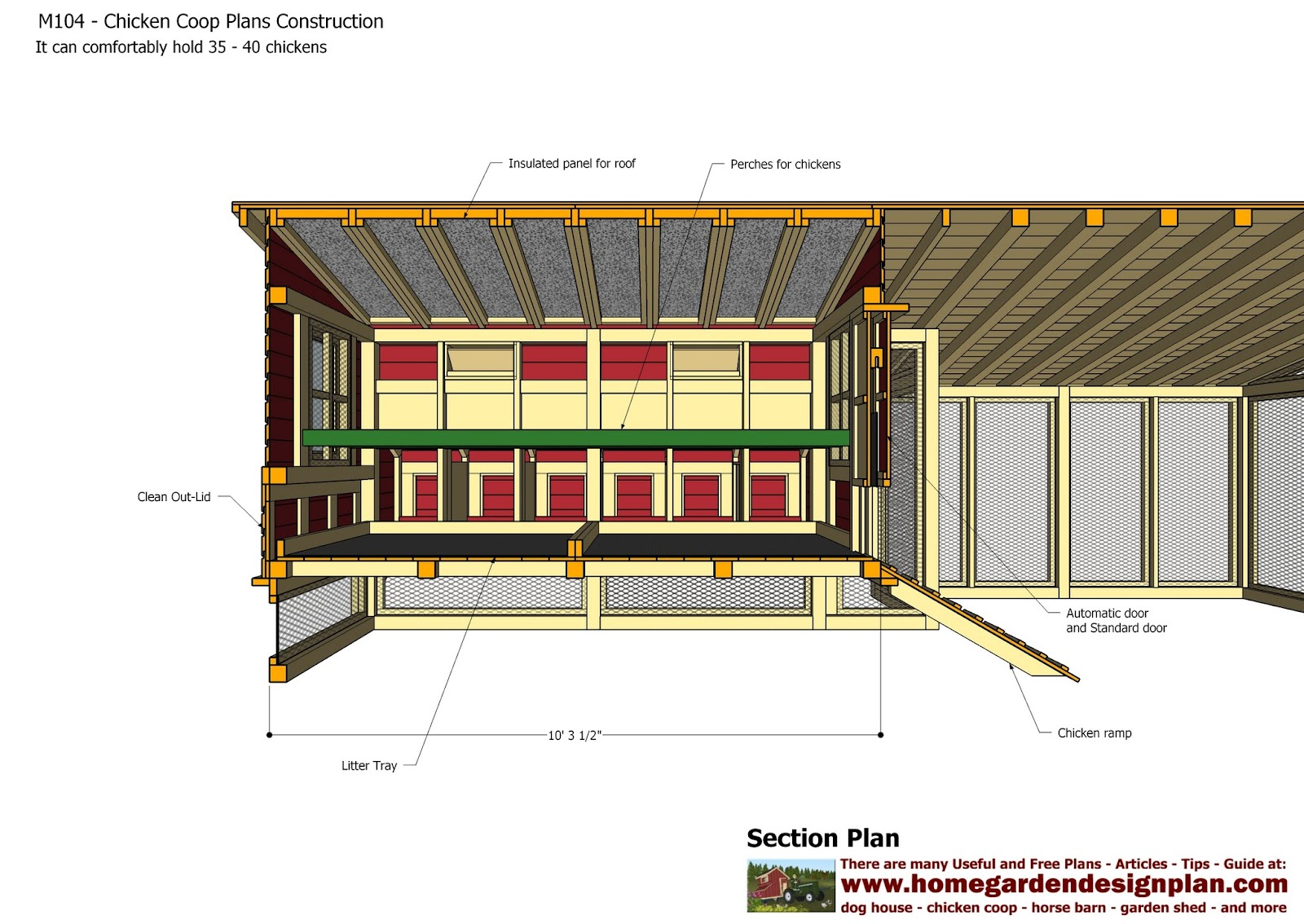 Home garden plans m104 chicken coop plans construction for Free coop plans