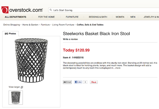 OVERSTOCK STEELWORKS BASKET BLACK IRON STOOL