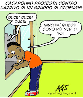 Casapound, Casale san Nicola, immigrazione, profughi, satira, vignetta