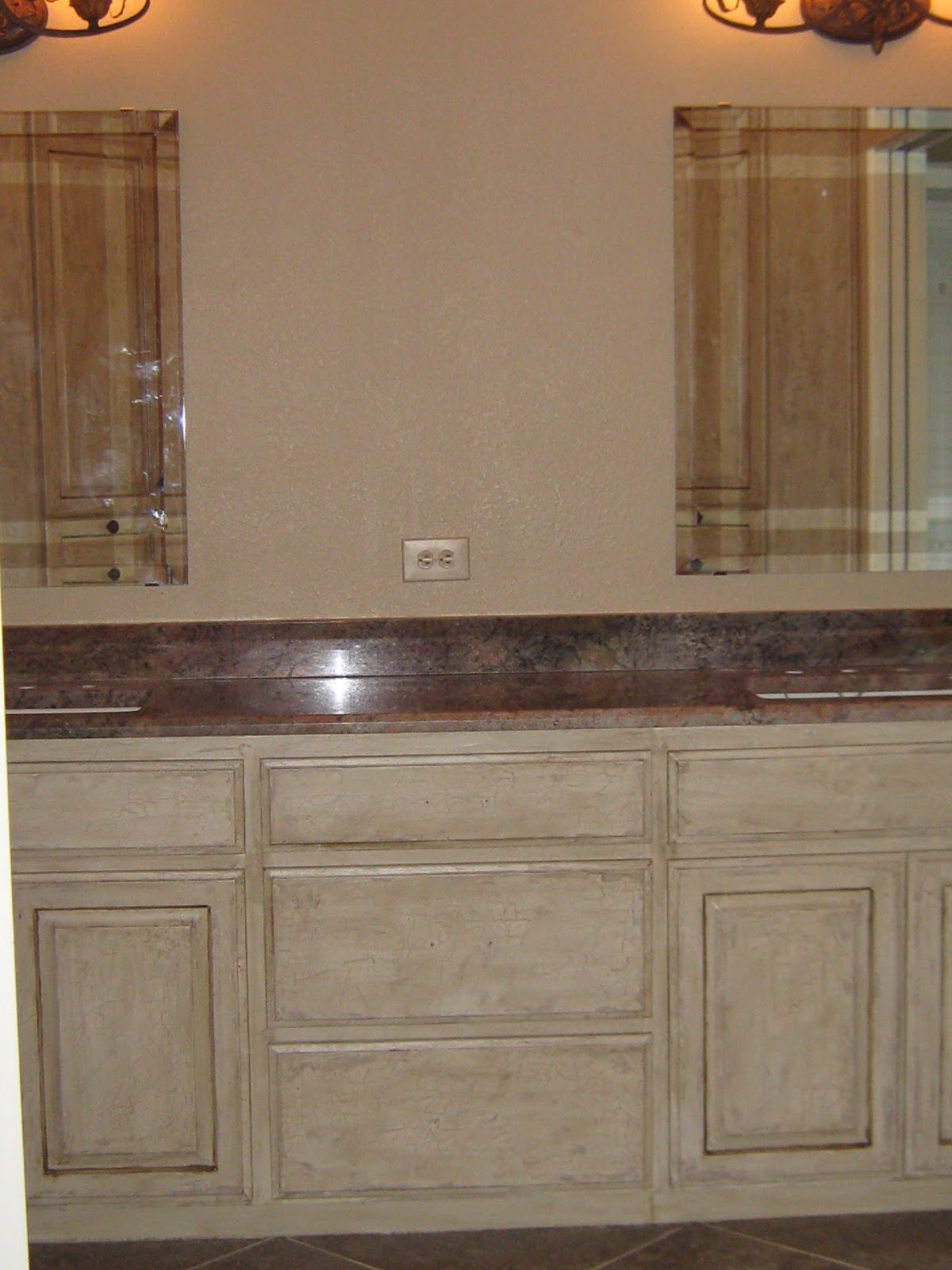 distressed faux finish on bathroom cabinets tutorial on painting and
