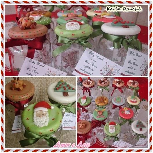 Vidros decorados para Natal - Papai Noel, Rena, Árvore - biscuit