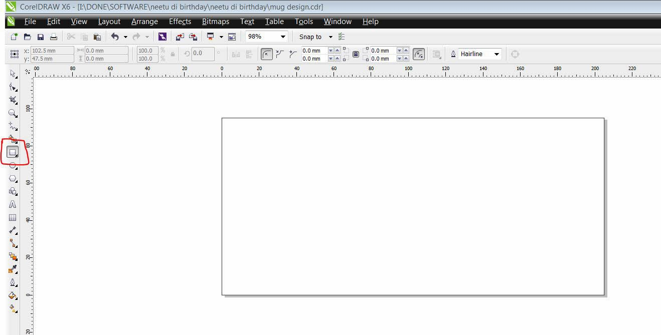 step 1 open corel draw and make a new file with size width 205mm height 95mm
