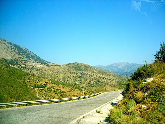 Road through the mountains on the island of Kefalonia, Greece