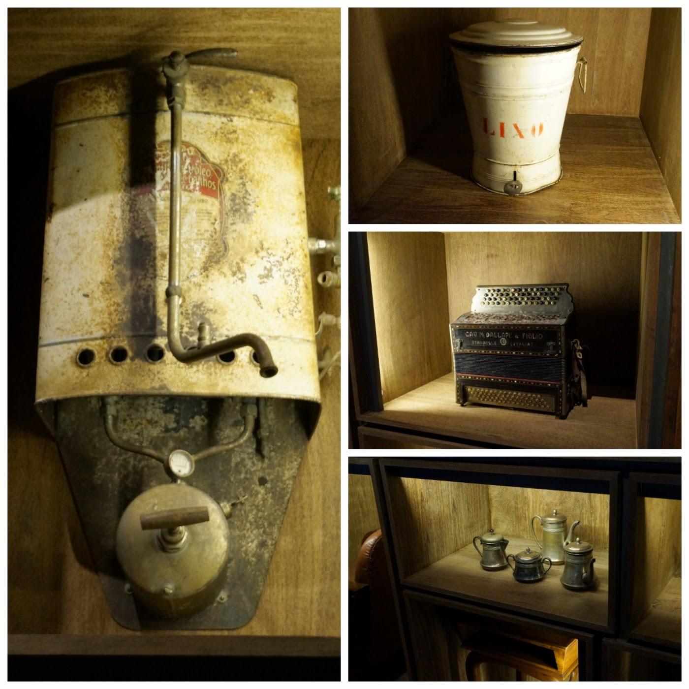 Museu da Imigração - SP: aquecedor a gás, lixo, instrumento musical (acordeon) e aparelho de chá e café